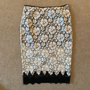 LUSH white and black lace pencil skirt